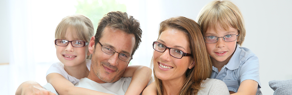Picture of a family wearing glasses