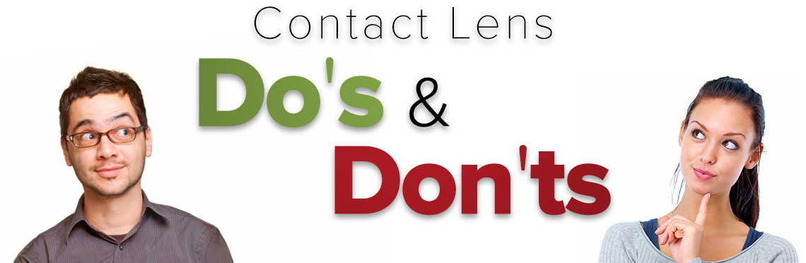 Man and woman with curious expressions looking at text that says Contact Lens Do's and Dont's