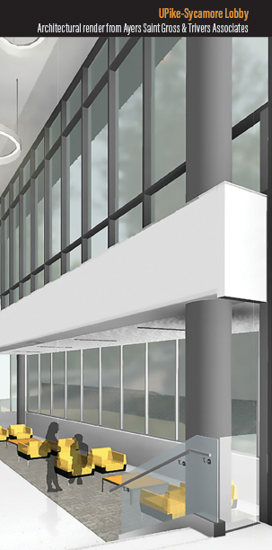 Rendering of KYCO - Sycamore Lobby Architectural render from Ayers Saint Gross & Trivers Associates