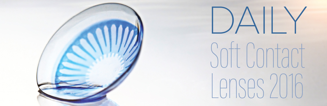 picture of a blue contact lens standing upright on a clean, abstract background