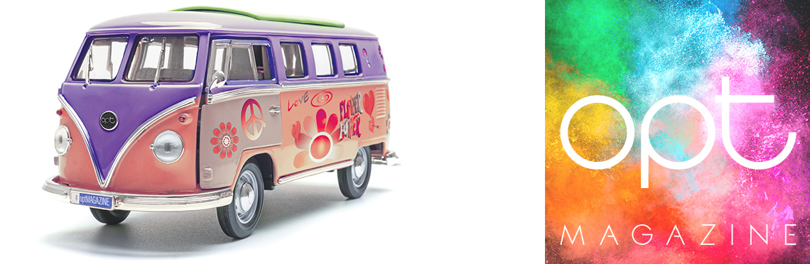 VW bus with colorful paint scheme and opt logo with colorful background