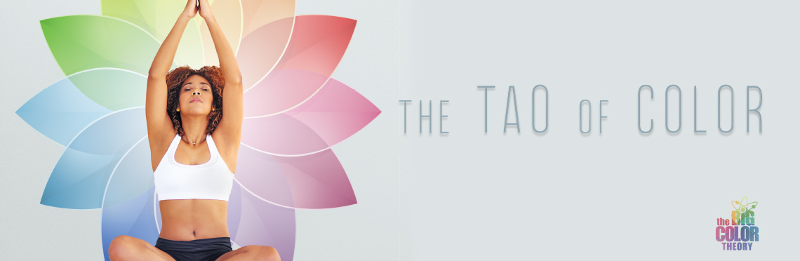 the TAO of Color hero image of a woman in a yoga pose sitting infront of an abstract color wheel