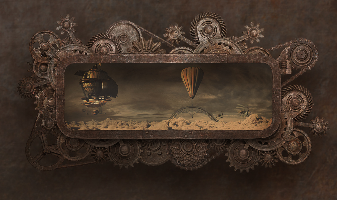 Steam punk style mechanical gizmo with an image of a blimp inside of it
