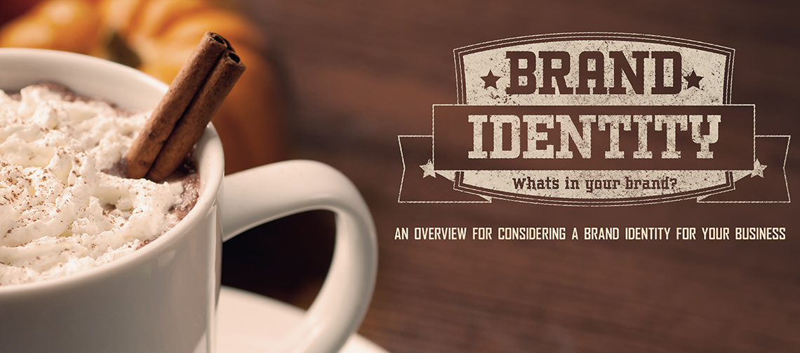 Image of a pumpkin spice latte with cinamon sticks and whipped cream, next to a weathered logo for Brand Identity