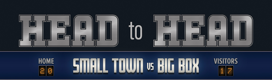 Title graphic showing text for Head-to-Head; Small Town vs Big Box. Done in a football style with home and visitors score boxes.