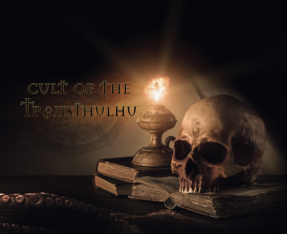 """Image of a skull on a book with candle light, and the text """"cult of the transthulu"""""""