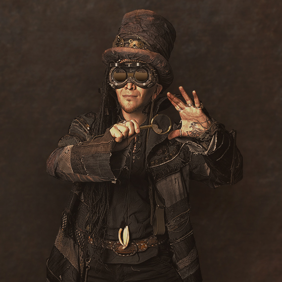 Man in steam punk style outfit