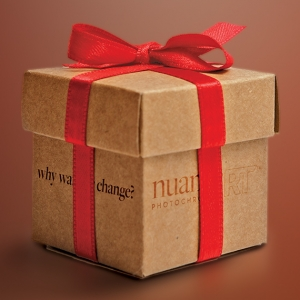 Box wrapped for the Holidays with the nuanceRT logo and the tagline 'why wait for change?' on the side of the box