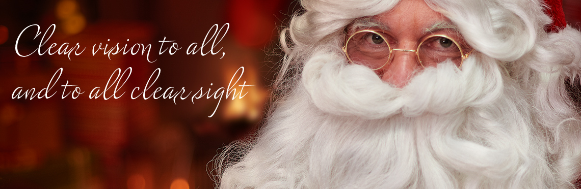 Picture of Santa Claus indoors with low-light, wearing clear Photochromic Lenses
