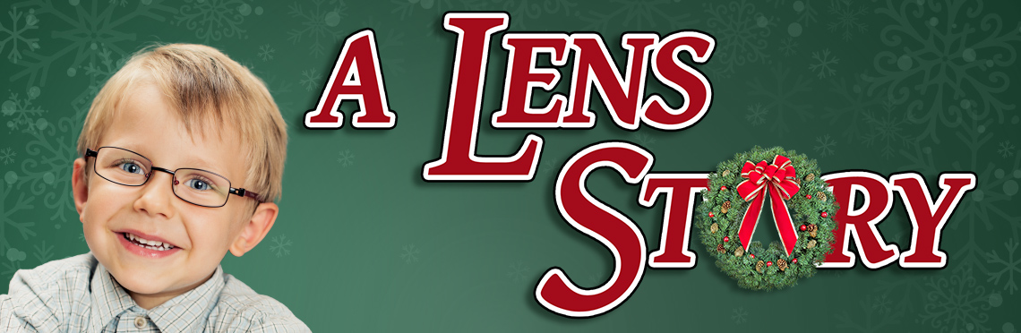 Picture of a kid wearing glasses from the Movie 'A Christmas Story' with the title text that reads, 'A Lens Story'