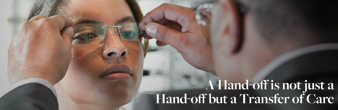 Picture of a woman getting fitted for eye glasses