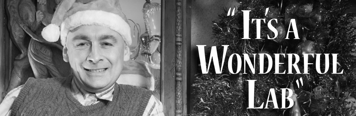 Vintage black and white picture of a man with a santa hat standing next to a christmas tree with the text, 'It's a Wonderful Lab'.