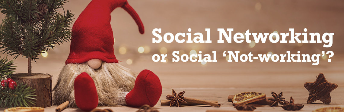 Picture of a holiday gnome sitting next to a christmas tree with the text, 'Social Networking or Social Not-working'.