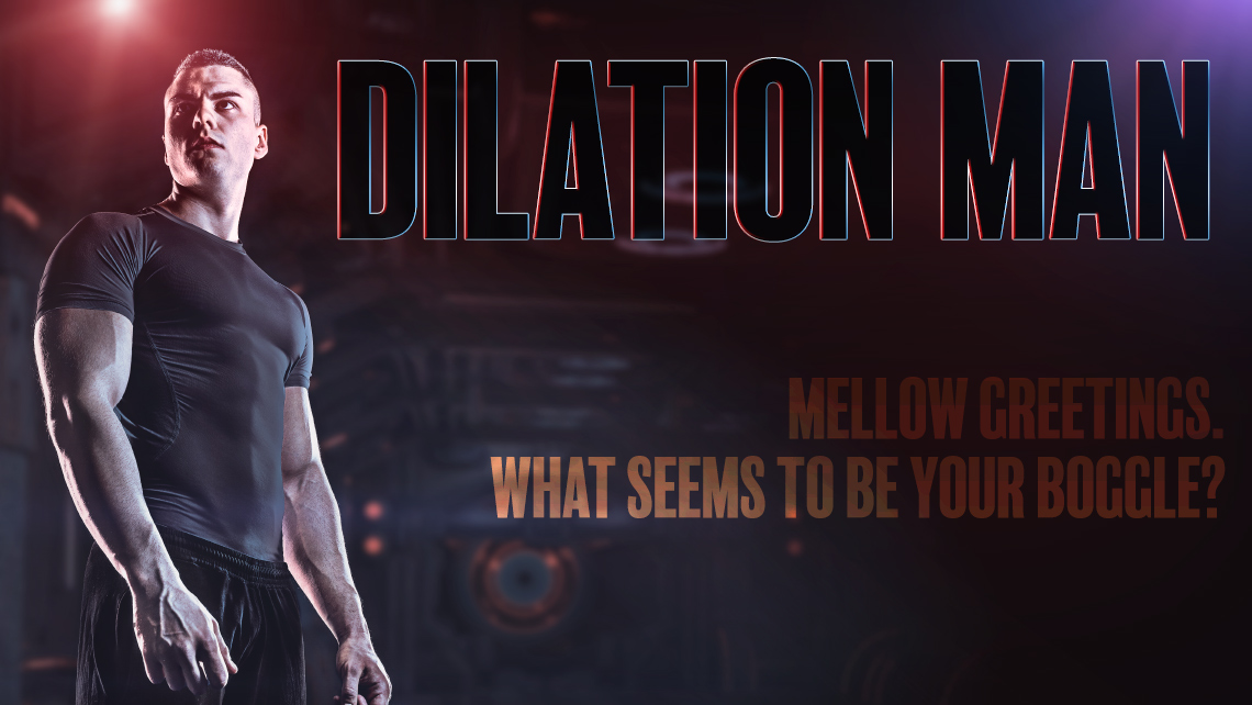 "Hero image for article ""Dilation Man"". Muscular man with red and blue lights."