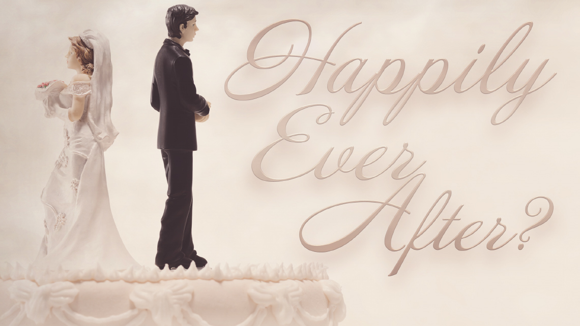 """Hero image for article """"Happily Ever After?"""". Bride and groom wedding cake toppers facing opposite directions."""