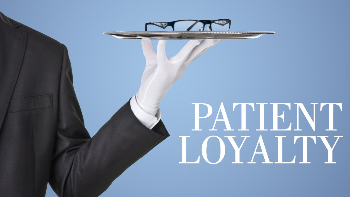 "Hero image for article ""Patient Loyalty"". Butler holding a serving dish with a pair of eye glasses."