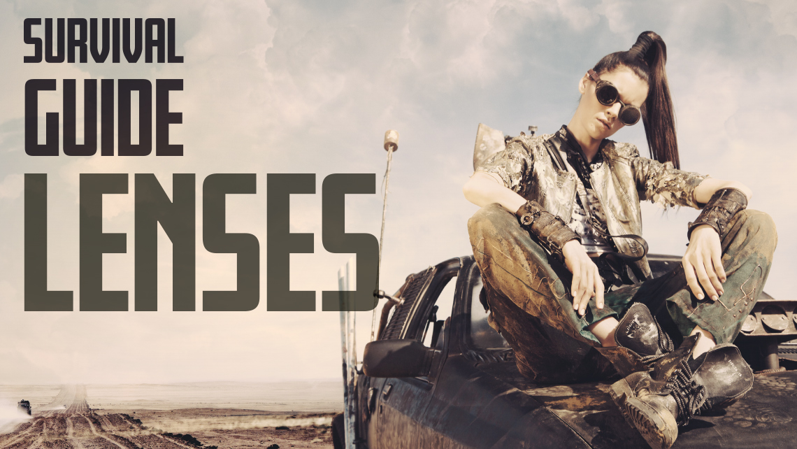 """Hero image for article """"Survival Guide Lenses"""". Apocalyptic woman sitting on the hood of her car in a desert."""