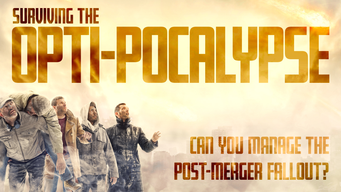 "Hero Image for article ""Surviving the Opti-Pocalypse: Can you manage the post-merger fallout?"" Five men covered in dirt looking at the sky."