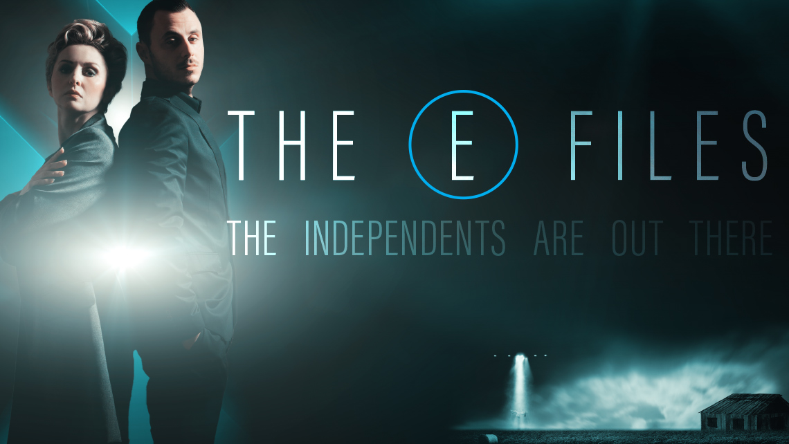 "Hero image for article ""The E Files"". Man and woman standing back to back"