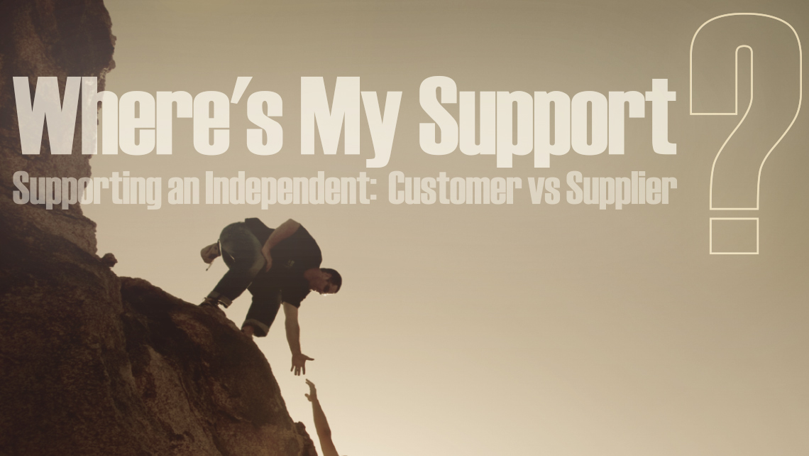 "Hero image for article ""Where's My Support? Supporting an Independent: Customer vs Supplier"". Man reaching down to help another man climb a cliff."