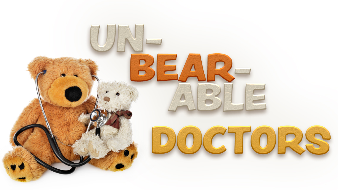 "Hero Image for article ""Un-Bear-Able Doctors"". Two studded bears with a stethoscope."