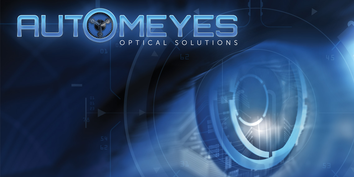 "Hero image for article ""Automeyes Optical Solutions"". Automeyes logo with a blue robotic eye to the right."