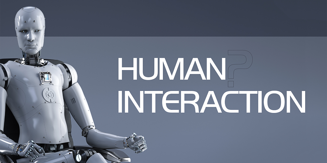 "Hero image for article ""Human? Interaction"". A robot sitting in a chair looking straight ahead."