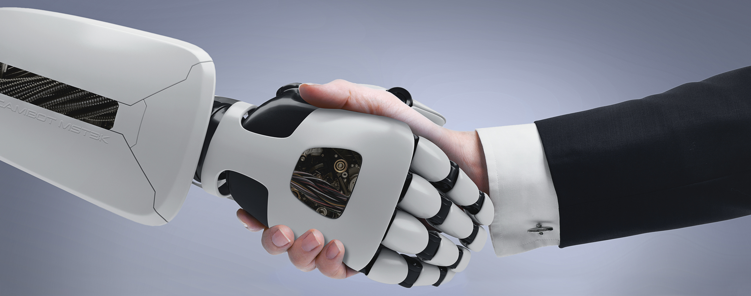 "Handshake image for article ""Human? Interaction"". A robot hand shaking hands with a human hand."