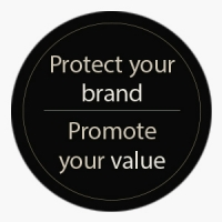 "Circle with the words ""Protect your brand - Promote your value"" for the ""Verification and Dispensing Quality Eyewear"" article."