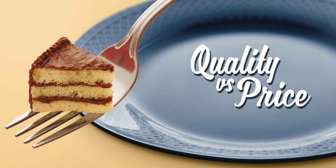 "Hero image for ""Quality vs Price"" article. Photo of a mini slice of cake on a fork, next to a blue plate. With the title on the plate."