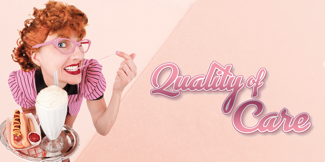 "Hero image for ""Quality of Care"" article. Photo of a woman wearing all pink, carrying a food tray, and stretching gum between her teeth and finger on a pink background, next to the title."
