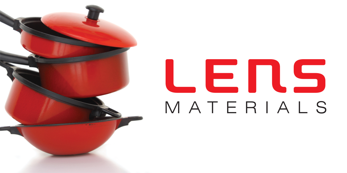 "Hero image for ""Lens Materials"" article. Photo of a stack of pots and pans that are all red with black handles. The title is to the right."